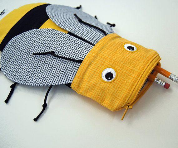 Cute Yellow Bee Pencil Case - Kids Zipper Pouch Animal Bag - Fun Toy Bag or Pencil Bag: MinneBites Yellow Bee Bite Pouch