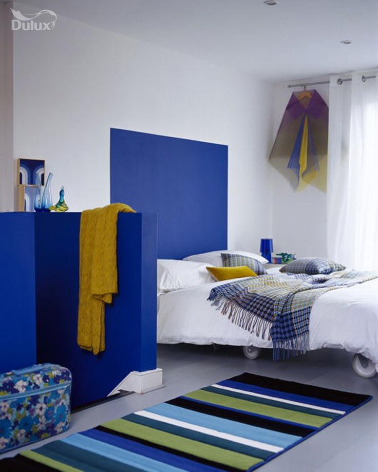 Blue and yellow creates truly uplifting and optimistic combinations which can create the most desirable spaces.  Featuring Royal Regatta 2 and Dusted Moss 4 by Dulux.