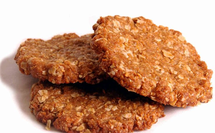 https://www.awm.gov.au/encyclopedia/anzac/biscuit/recipe/  The popular Anzac biscuit is a traditional, eggless sweet biscuit. Early recipes did not include coconut.  The following recipe (without coconut) was published in The Capricornian (Rockhampton, Queensland) on Saturday, 14th August 1926.  Ingredients  2 cups rolled oats 1/2 cup sugar 1 cup plain flour 1/2 cup melted butter 1 tbls golden syrup 2 tbls boiling water 1 tsp bicarbonate soda (add a little more water if mixture is too dry)