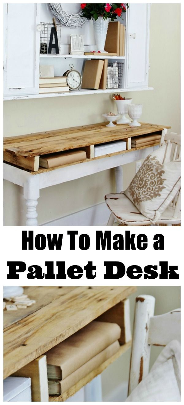 How to make a pallet desk. Simply add a pallet onto an existing table base! @deb rouse schwedhelm rouse schwedhelm Keller Farm