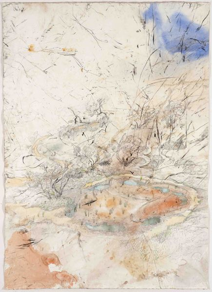 John Wolseley,Mallee 'gilgai' – ephemeral pools, Wyperfeld National Park (2009–12),watercolour, charcoal and graphite on paper, 150 x 107cm