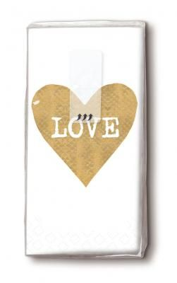 bedruckte Taschentücher Love im goldenen Herz auf Weiß - Servietten Versand Tischdeko Kerzen OnlineShop