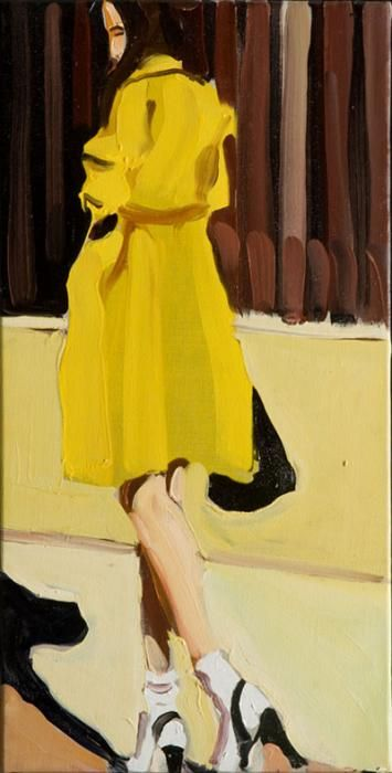 Chantal Joffe/ Yellow Raincoat, 2009/ oil on canvas, 60 x 30 cm