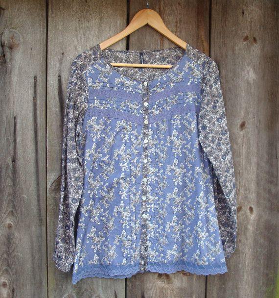 Vintage Cotton Blouse Greyish Purple Romantic Boho by OLaLaVintage