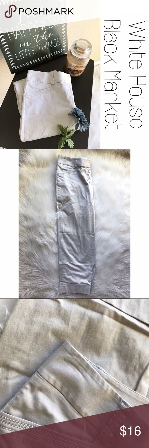 """WHBM Khaki Cropped Pants Capris 4 Soft and I the perfect neutral color.  Measurements lying flat: waist 15"""", rise 9"""", hips 18"""" and inseam 22.5"""".  Size 4.  EUC. B9 White House Black Market Pants"""