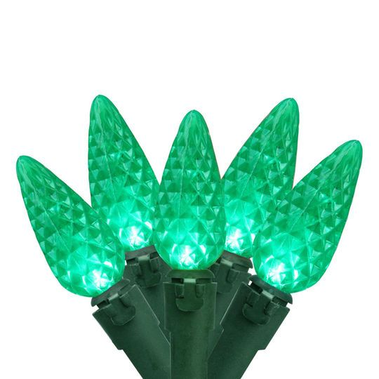 Northlight 100ct. Faceted Green LED C6 String Lights