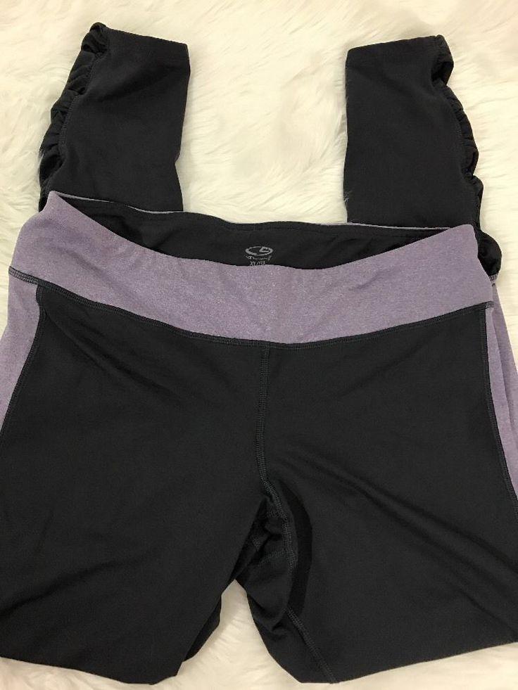 Champions C9 Athletic Pants Sz XL Ruching Gray Lavender Running Yoga Fitness #Champion #PantsTightsLeggings