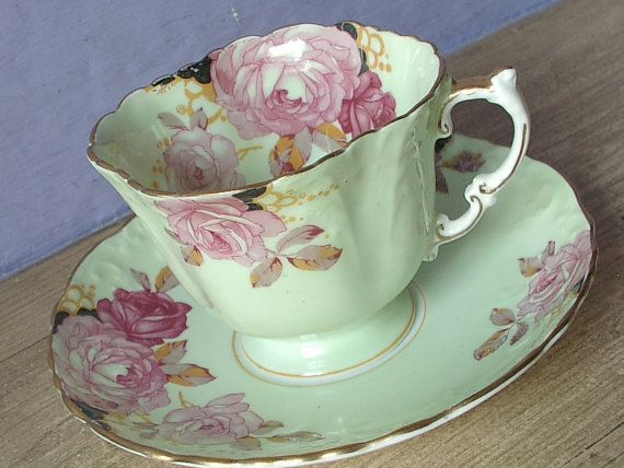 Antique 1930s Aynsley pink rose tea cup, pale green tea cup and saucer, bone china tea cup, pink and green English tea cup, gift for her    This