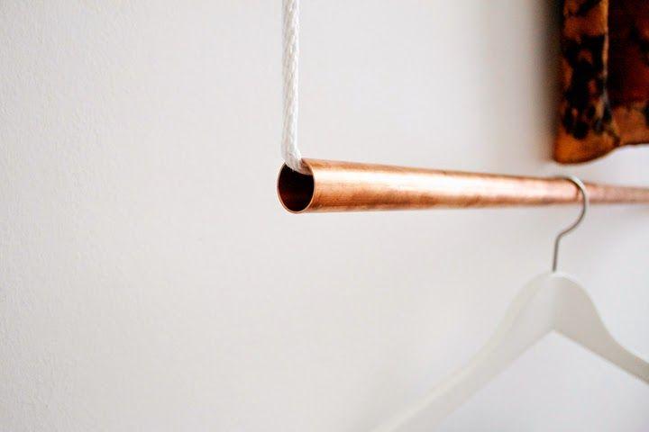FOXTAIL + MOSS: MAKE: Simple Copper Hanging Garment Rack
