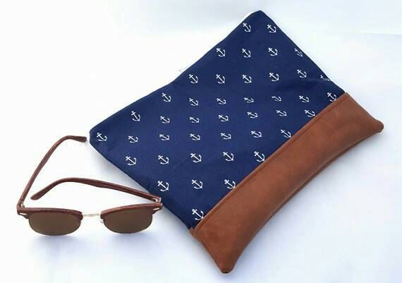 Large Navy and white nautical clutch bag with anchors by AddieLou