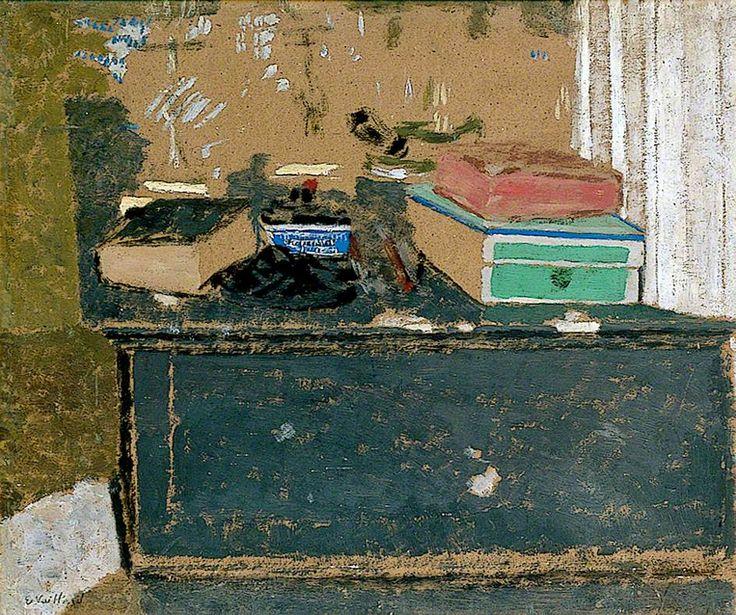 lawrenceleemagnuson: L'encrier bleu sur la cheminee c. 1900 Edouard Vuillard oil on paper on panel 34 x 41 cm
