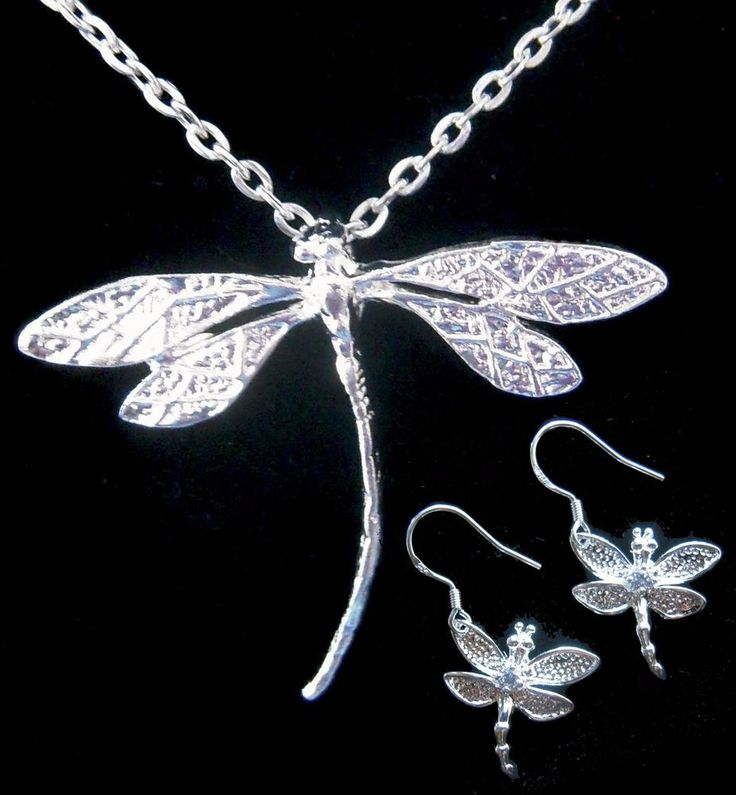 Silver #Dragonfly #Necklace & #Earrings 925 Silver Hooks in organza Gift bag USA   #Handmade