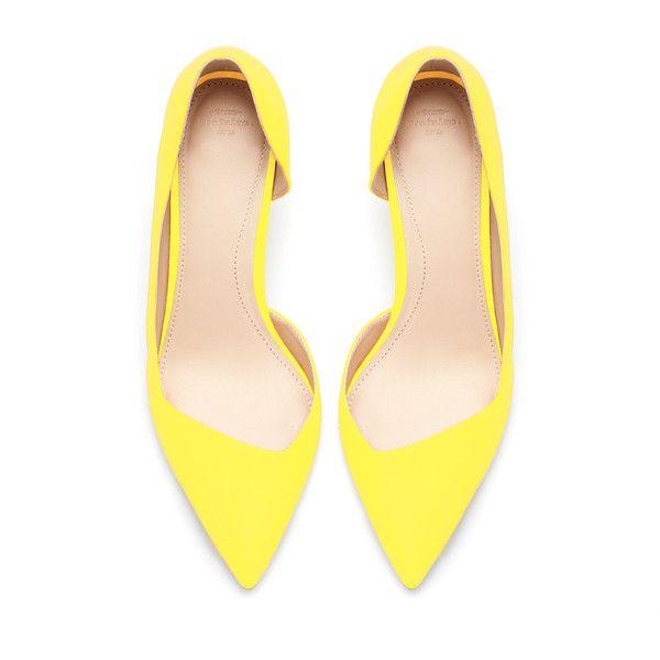 Zara Medium Bright Yellow Heel Court Heels