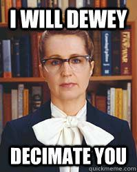 Angry librarian stereotype! Such a good play on words through...