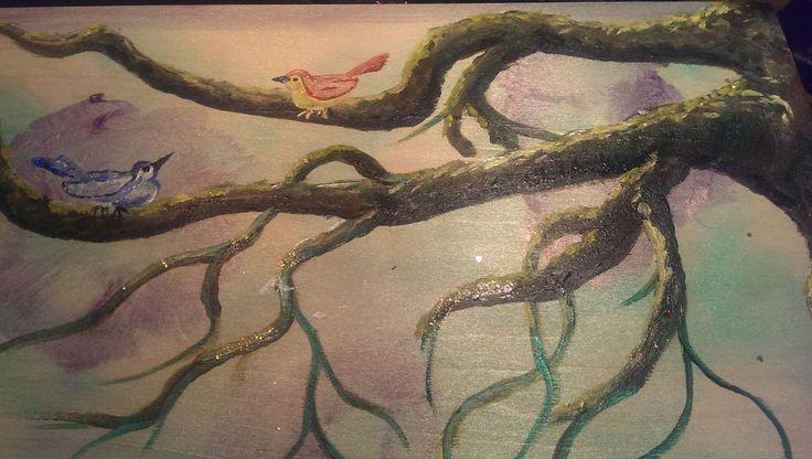 Birds on an unfinished tree Acrylic on Canvas Artist: Franz Vanderkraan 2014