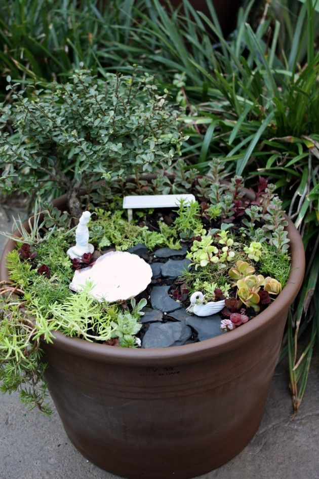 651 best images about fairy garden s in pot planters on pinterest fairies garden mini - How to make a fairy garden container ...