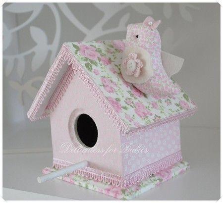 Casinha de passarinho - forrada com tecido Dellicatess for babies
