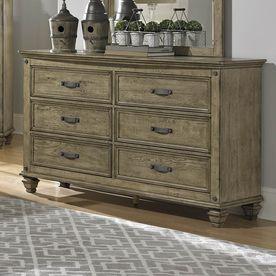 Homelegance Sylvania Driftwood Rubberwood 6-Drawer Double Dresser 2298-5