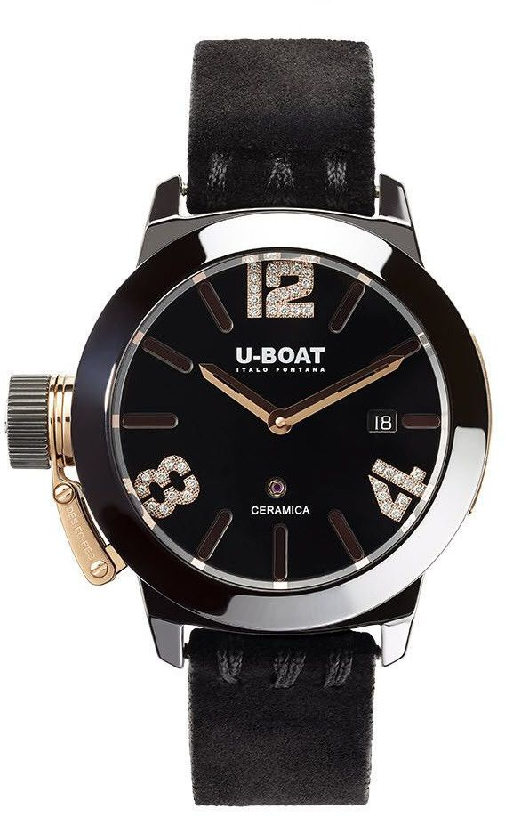 U-Boat Watch Classico 42 Ceramic Gold #bezel-fixed #bracelet-strap-rubber #brand-u-boat #case-material-ceramic #case-width-42mm #date-yes #delivery-timescale-call-us #dial-colour-black #gender-ladies #luxury #movement-automatic #official-stockist-for-u-boat-watches #packaging-u-boat-watch-packaging #style-dress #subcat-classico-42mm #supplier-model-no-7122 #warranty-u-boat-official-2-year-guarantee #water-resistant-50m
