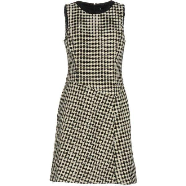 Lauren By Ralph Lauren Short Dress (6.930 RUB) ❤ liked on Polyvore featuring dresses, black, trapeze dresses, zipper mini dress, tent dress, mini dress and sleeveless dress