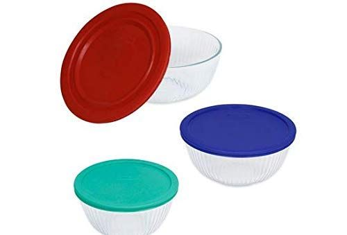Pyrex 3 Piece Glass Mixing Bowls With Lids Set Review Mixing