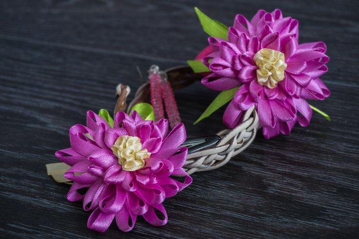 flower hairpin and hair band https://www.facebook.com/forsuol/ #fabricflower #satinflower #flower #handmade