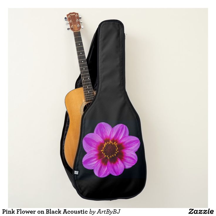 Pink Flower on Black Acoustic Guitar Case  - A Wonderful Christmas Present or Birthday Gift for ANY Guitar Player - order it as an Electric Guitar Case or an Acoustic Guitar Case. . . .   2 pockets, Handle and Back-Pack Style Straps as well, . . .   AND SWAP-ABLE  Front Designs. -  Visit to see all the details and LOTS MORE!