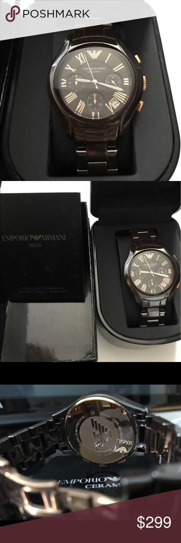 Emporio Armani Women's CERAMIC Watch AR1447 NWT ORIGINAL PRICE $545. Watch Information: Model / Collection: AR1447 collection  Ceramics Subcategory: Chronograph         Display type: Chronograph Water resistant: 30 meters Case material: Brown Ceramic Movement type: Japan Quartz Movement brand: Miyota Shape of the dial: Round Case: (Width) 39 mm, 12mm (thickness), weight: 182g, up to cuff: 20cm approx. Emporio Armani Accessories Watches