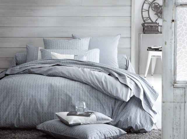 Housse de couette bleu gris linge de lit pinterest for Housses de couette blanche