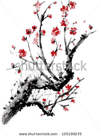 Realistic sakura blossom - Japanese cherry tree isolated on white background. Vectorization watercolor painting. by Piratka, via Shutterstoc...