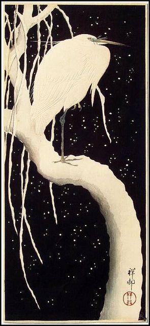 """Egret (Egretta garzetta) on a Snowy Branch"" (ca1910-23) by Koson Ohara / Ohara Shoson [Japanese woodblock printmaker 1877-1945]"