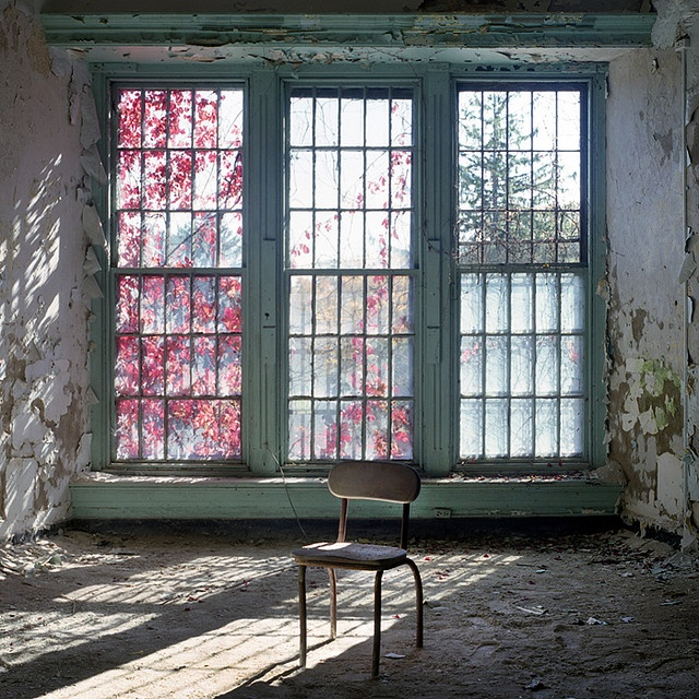 Window in abandoned Greystone Park Psychiatric Hospital, Parsippany-Troy Hills, New Jersey.  Photo © Jeff McMullin.