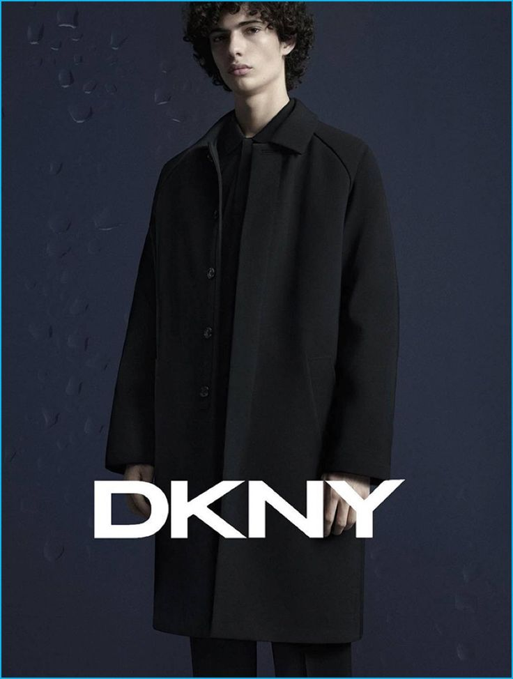 Tom Van Dorpe outfits Piero Mendez in a dark number for DKNY's fall-winter 2016 campaign.