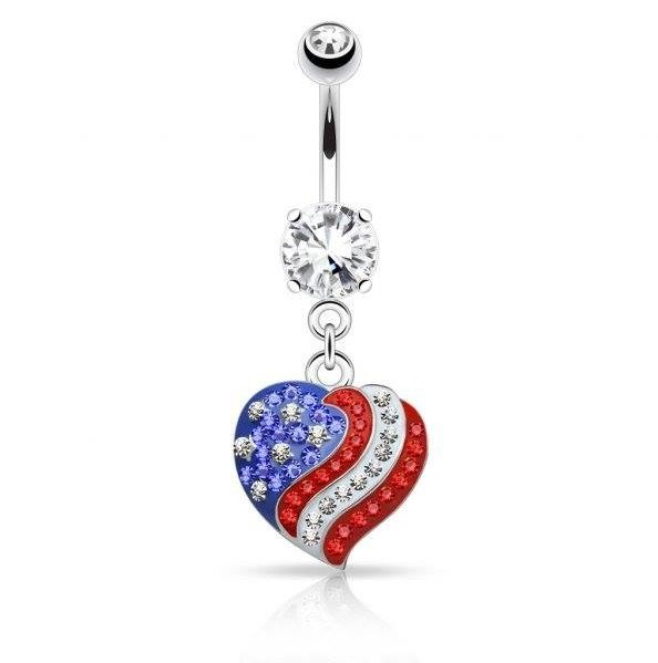 Crystal Paved American Flag Heart Design Dangle Belly Rings