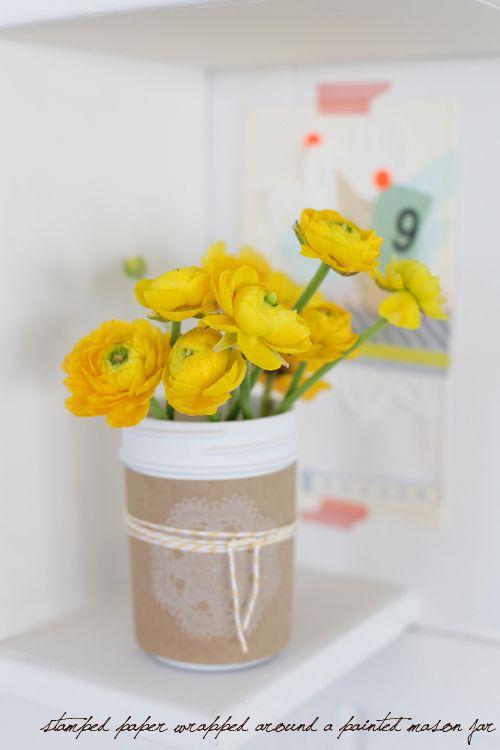 a creative mint: Lemon Yellow, Grey and Kraft Paper: Yellow Flowers, Spring Flowers, Kraft Paper, Brown Paper, Flowers Bouquets, Gifts Ideas, Mason Jars Centerpieces, Mason Jars Crafts, Lemon Yellow