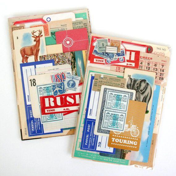 Large Vintage Paper Grab Bag  50 Pieces by saturdayAMvintage, $12.00