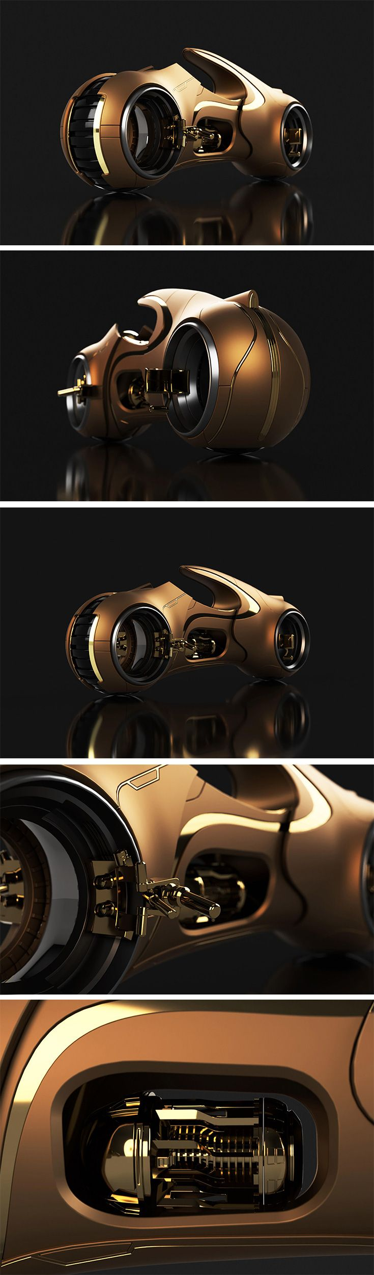 Designer Daniela Maria Guerrero takes a stab at reinterpreting the Tron Light Cycle. The concept explores the contrast of metallic materials applied to the  original light concept but maintains the form and the modeling details to be as similar as possible to that of Simon's original work. The gold detail warms  things up, but it still runs on pure liquid energy! Like the original, the vehicle's speed can be increased by pushing the ends further apart.