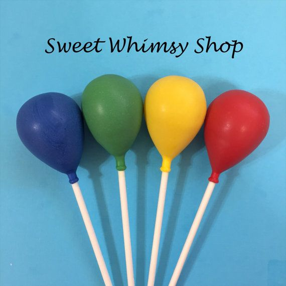 12 Red Yellow Blue & Green Balloon Cake Pops by SweetWhimsyShop