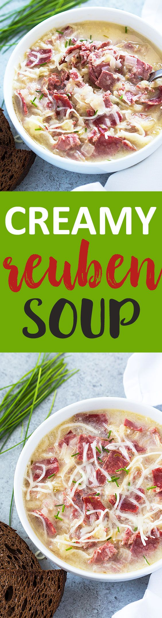 Creamy Reuben Soup - So hearty, comforting and full of corned beef and sauerkraut!