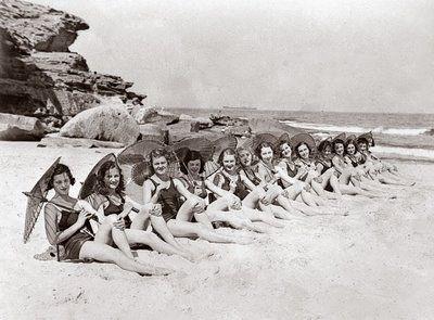 Sydney Chorus girls modeling Jantzen swimsuits on Tamarama Beach. 1930s