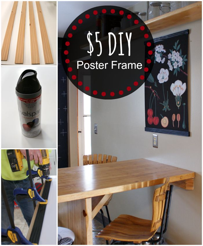How to make a poster frame. Easy and inexpensive way to make a custom frame for artwork, prints, posters. Cute way to hang art. Fifty Two Weekends (...of DIY): Easy DIY: Ferm Living Inspired Poster Frame