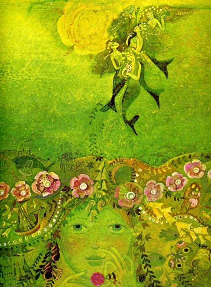 """Josef Palecek, illustration for H.C. Andersen's """"The Little Mermaid"""", 1978"""