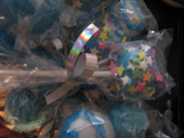 Cake Pops: Each pop individually wrapped in cello bag and ribbon
