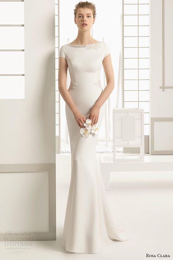 rosa clara bridal 2016 collection bateau neckline cap sleeves white clean sheath wedding dress delhi