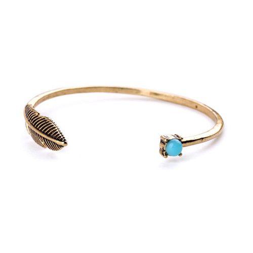 Bracelet en métal bronze et strass bleu. Un bracelet créateur tendance 2016…