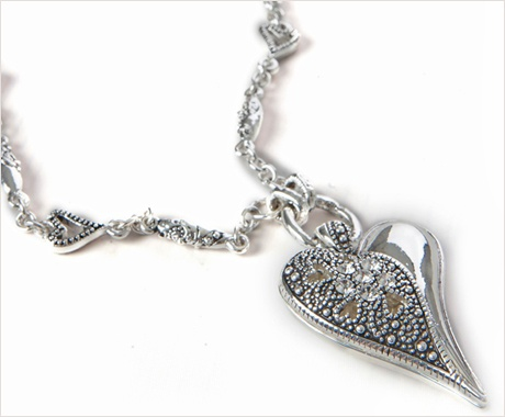 Polished Silver and Filigree Hjerter Necklace