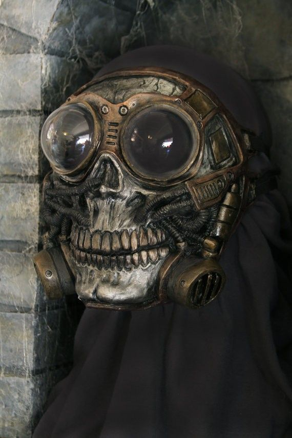 Steampunk Halloween Froggle Full Face Skull Gas mask #halloween #steampunk #mask www.loveitsomuch.com