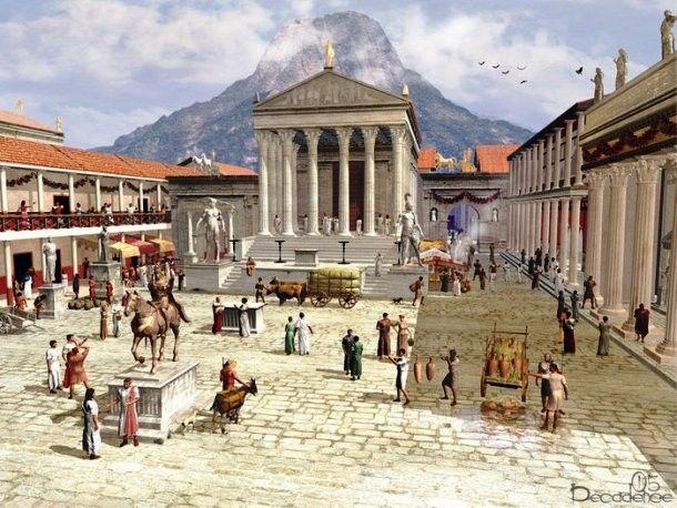 View of the main forum in Pompeii before the eruption of Mt. Vesuvius in 79 AD.  becuo.com pompeii-jpg