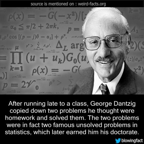 Mind Blowing Facts, After running late to a class, George Dantzig...