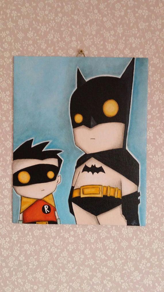 So cute! Little superheroes Batman and Robin! Check it out on Etsy gevonden: https://www.etsy.com/nl/listing/252471364/acryl-schilderij-batman-en-robin